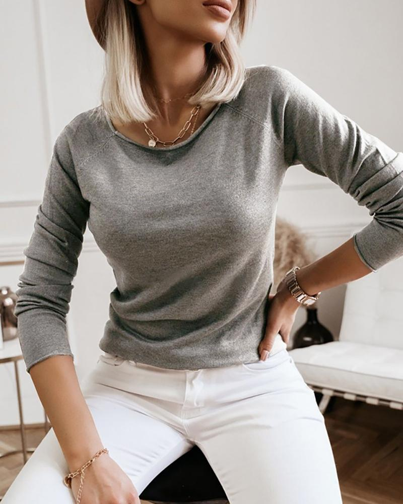 Solid Long Sleeve Casual Top фото