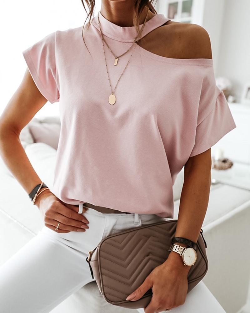 Cold Shoulder Short Sleeve Casual T-shirt фото