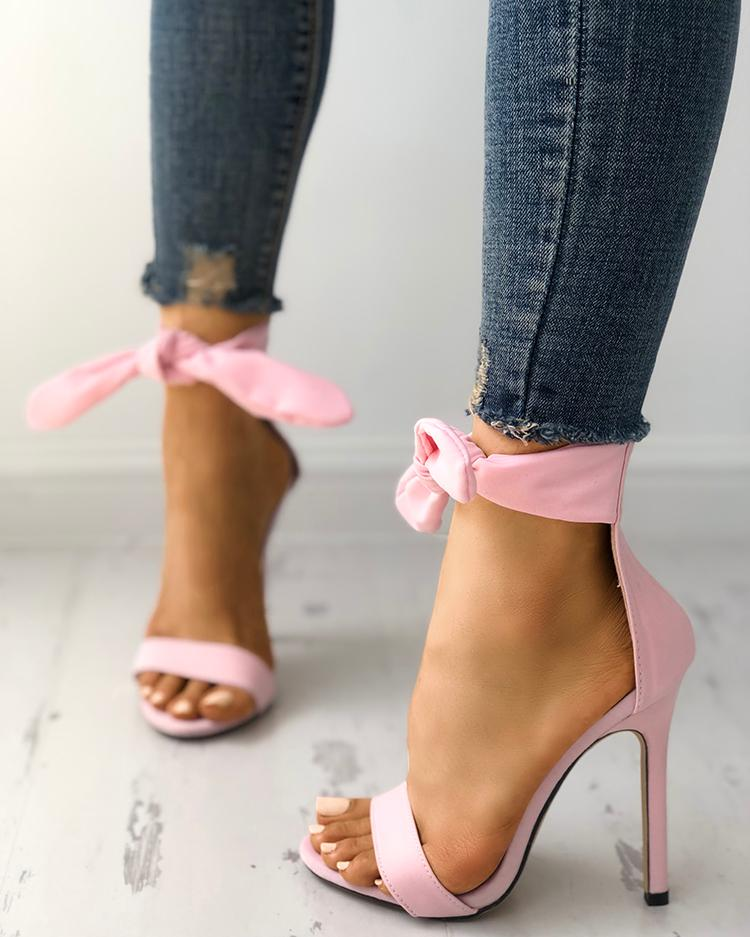 Peep Toe Thick Strap Ankle Tie Stiletto Sandals фото