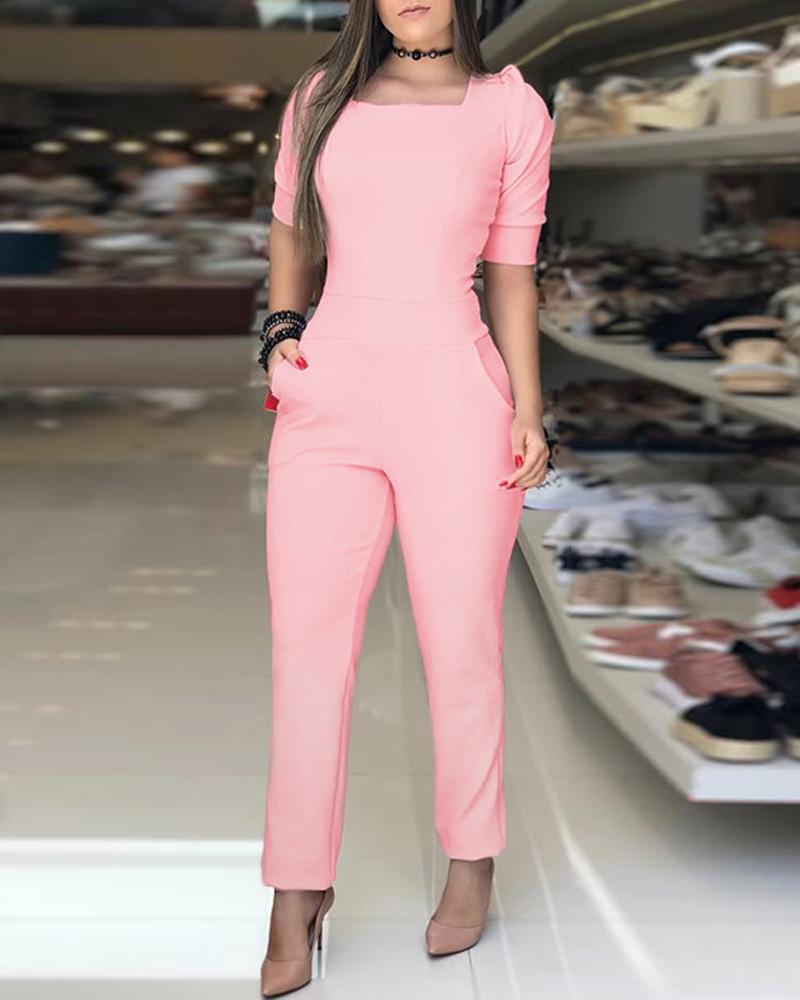 Puffed Sleeve Knotted Cutout Back Jumpsuits фото