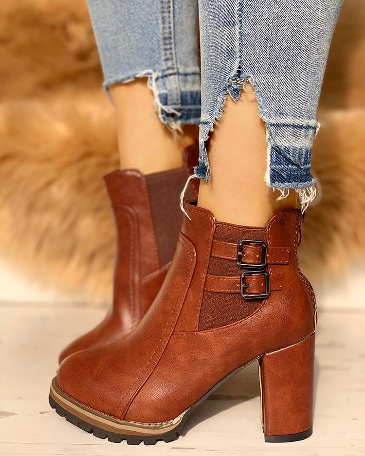 PU Buckle Platfrom Chunky Ankle Boots