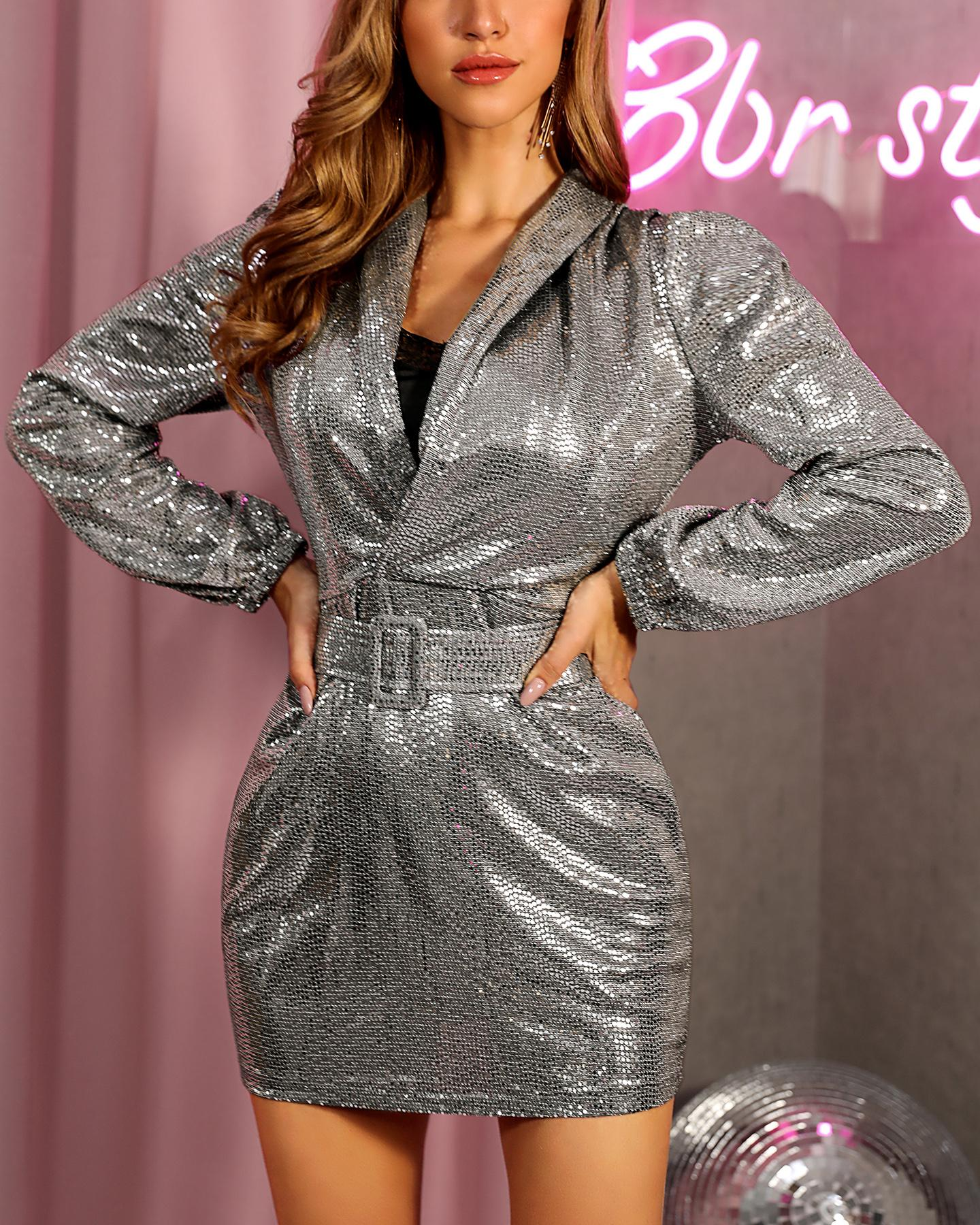 ivrose / Sequins Long Sleeve Deep V Dress