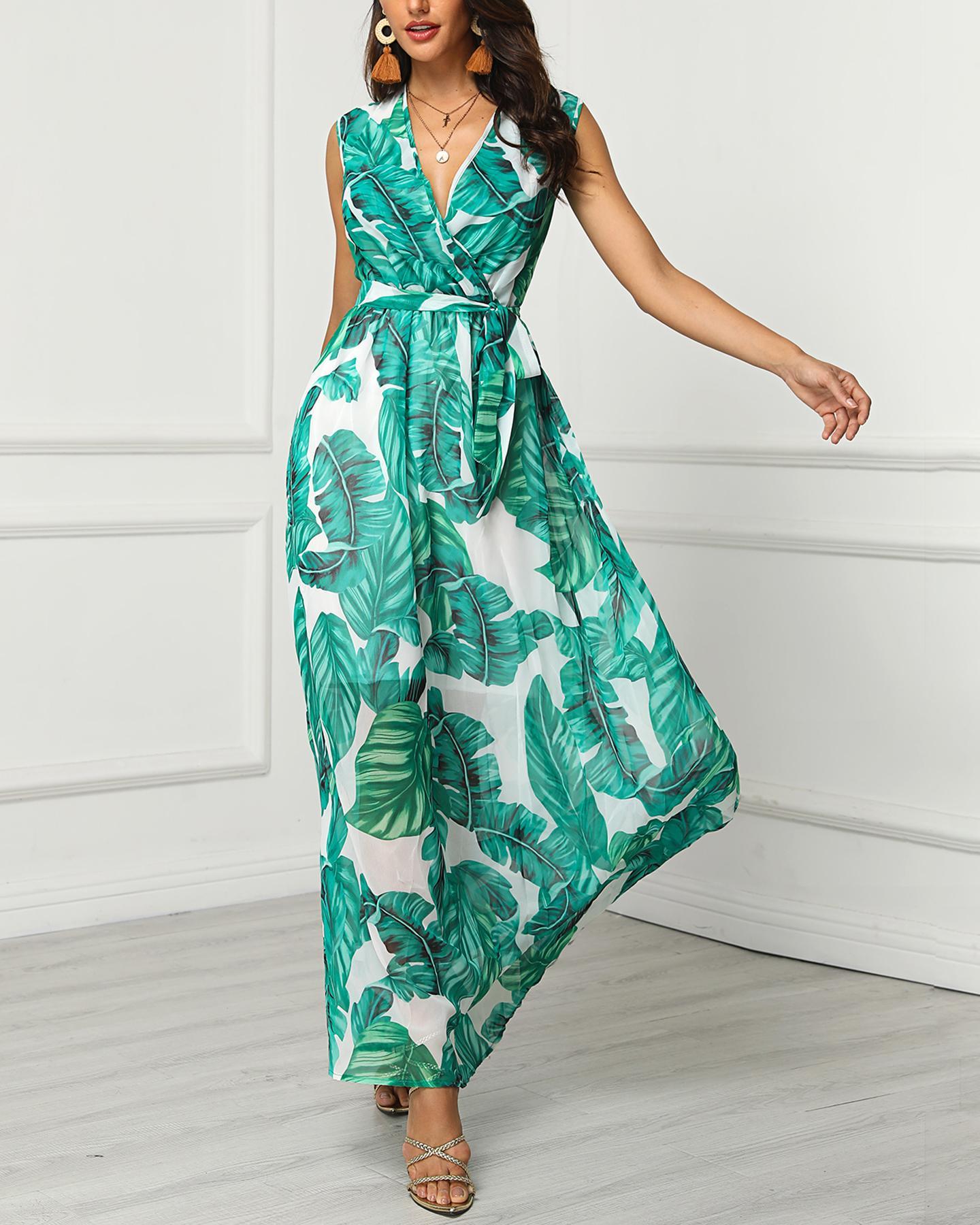V-neck Leaf Printed Long Dress фото