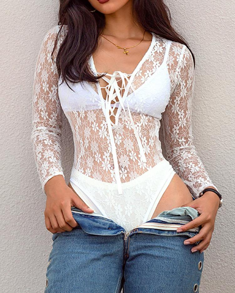 Sheer Lace Lace-Up Front Bodysuit