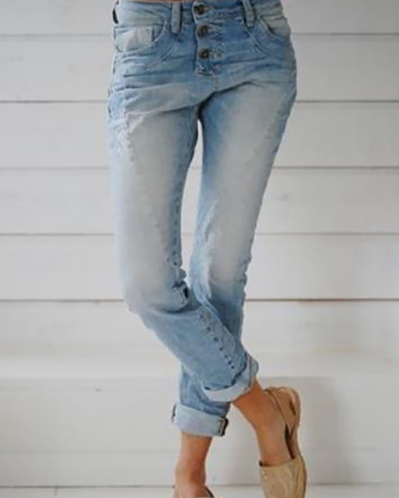 Buttoned Pockets Casual Denim Pants фото