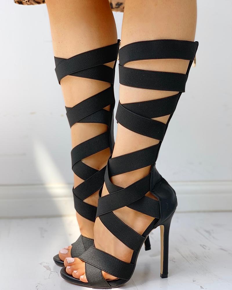 Bandage Lace-Up Zipper Back Thin Heels фото