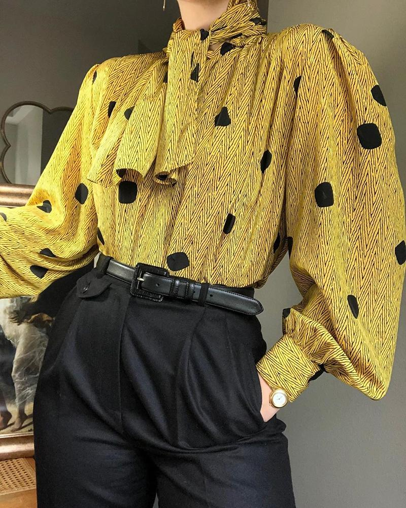 ivrose / Impressão aleatória amarrada pescoço lanterna camisa de manga