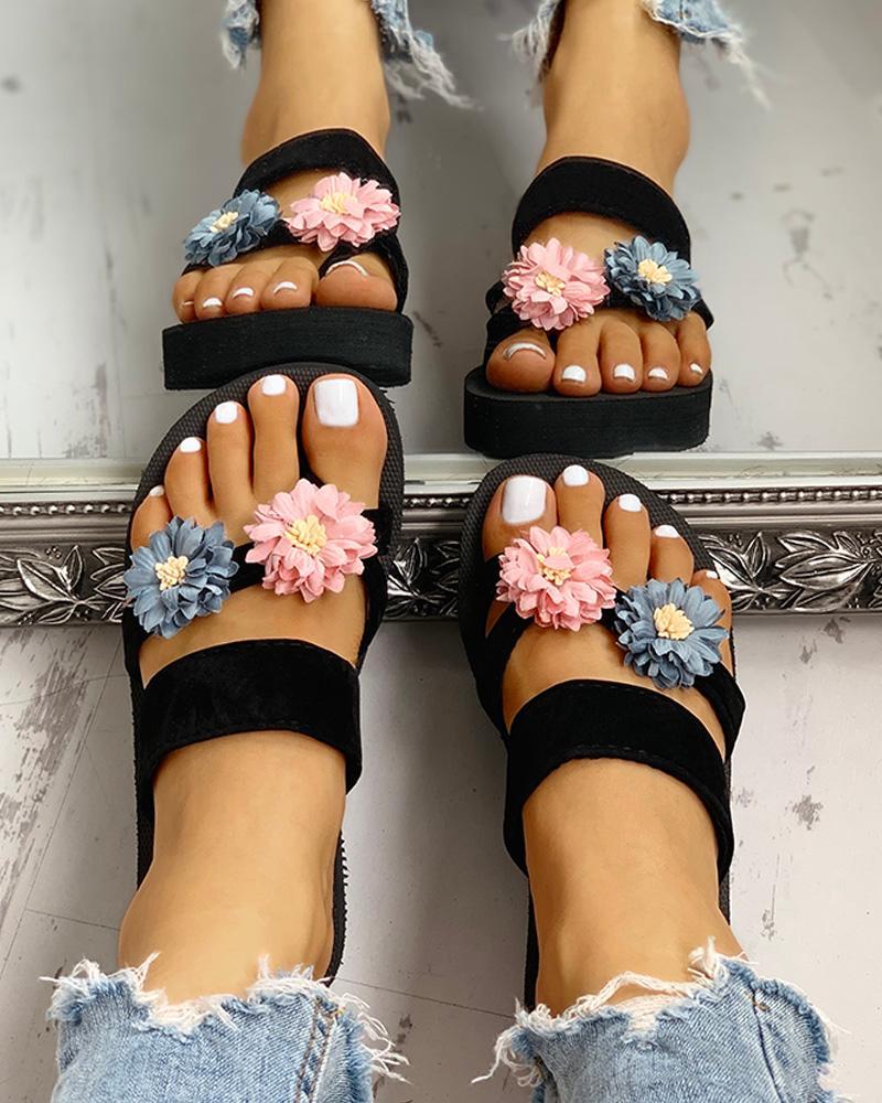 Flower Embellished Toe Ring Design Sandals фото