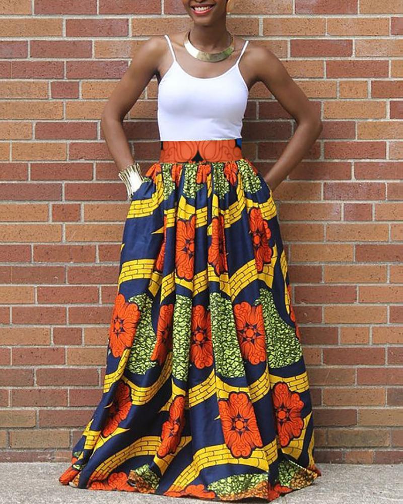 Floral Print Tight Waist Maxi Skirt фото
