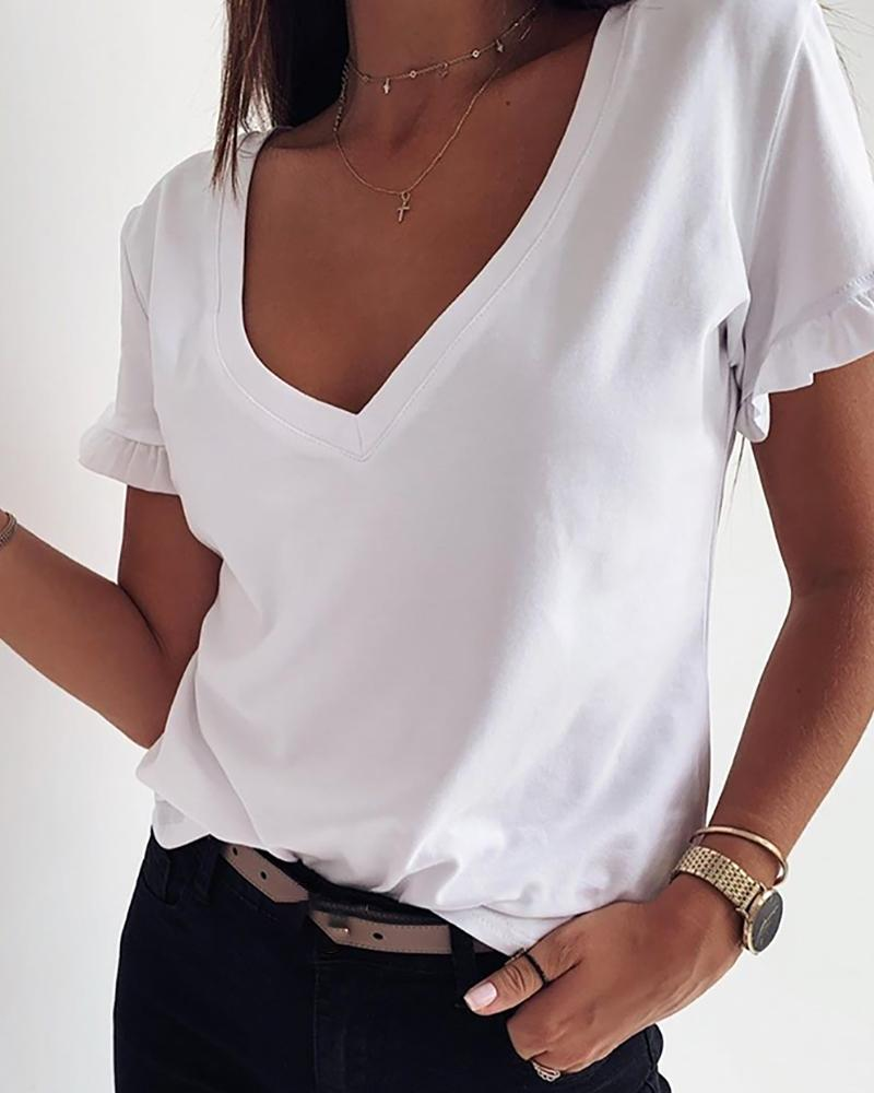 Solid V Neck Frill Hem T-shirt фото