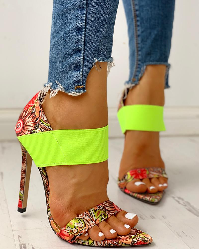 Colorful Print Elastic Bandage Thin Heeled Sandals