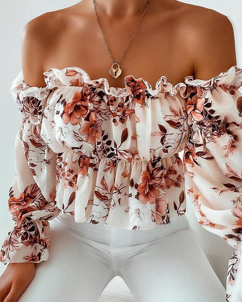 Off Shoulder Floral Print Frill Hem Ruched Top фото