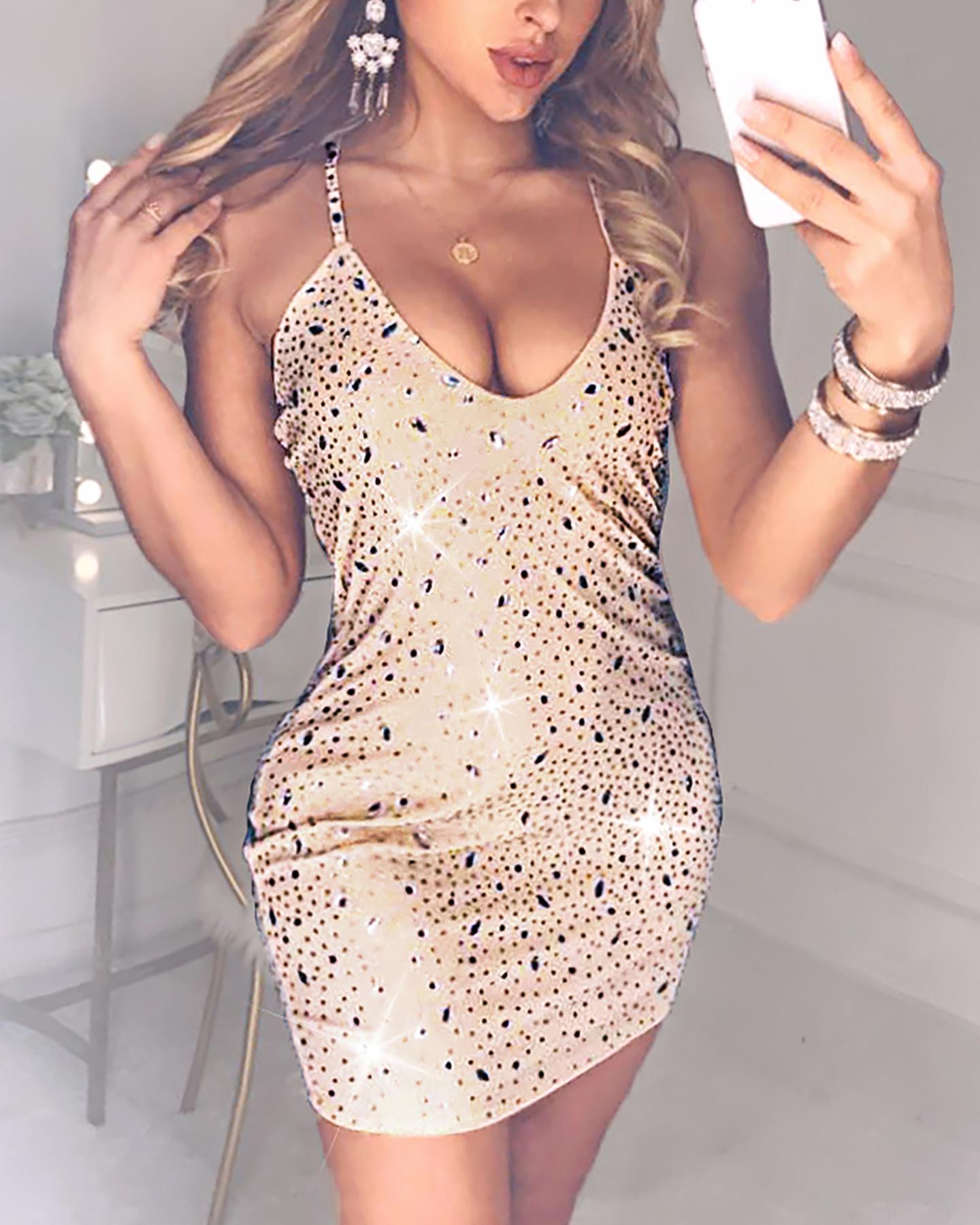 Studded Spaghetti Strap Crisscross Backless Dress фото
