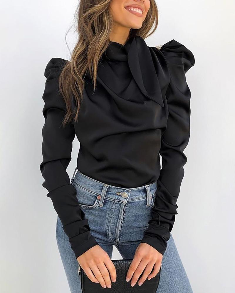 Solid Puff Sleeve Tied Neck Blouse фото