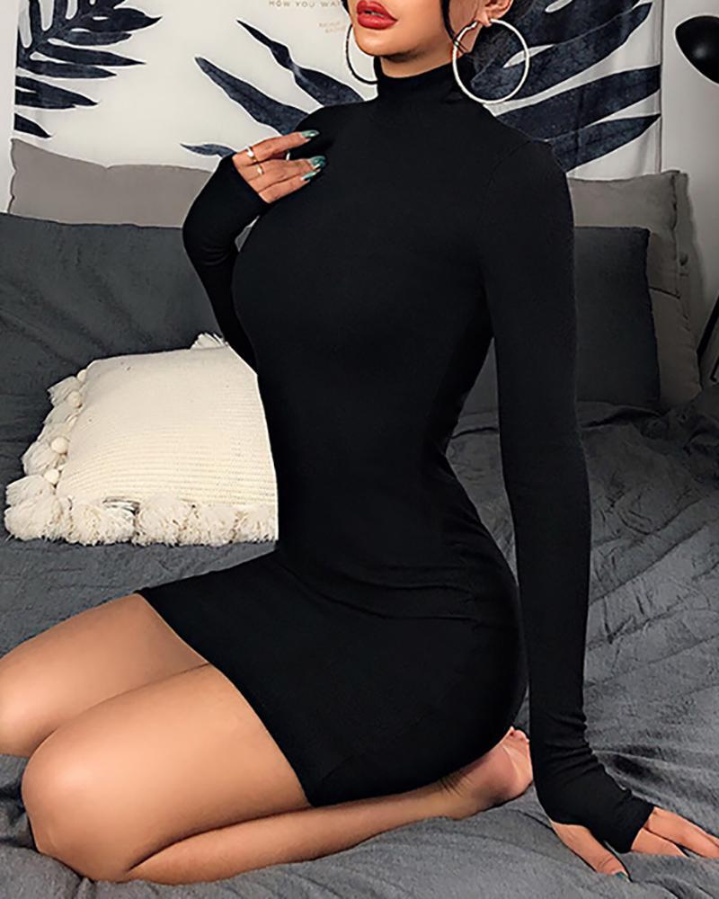 Mock Neck Long Sleeve Mini Dress фото