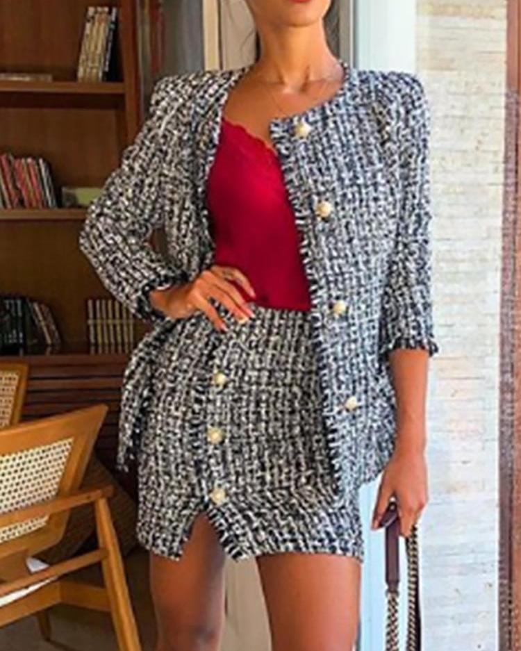 Frayed Hem Button Detail Tweed Set