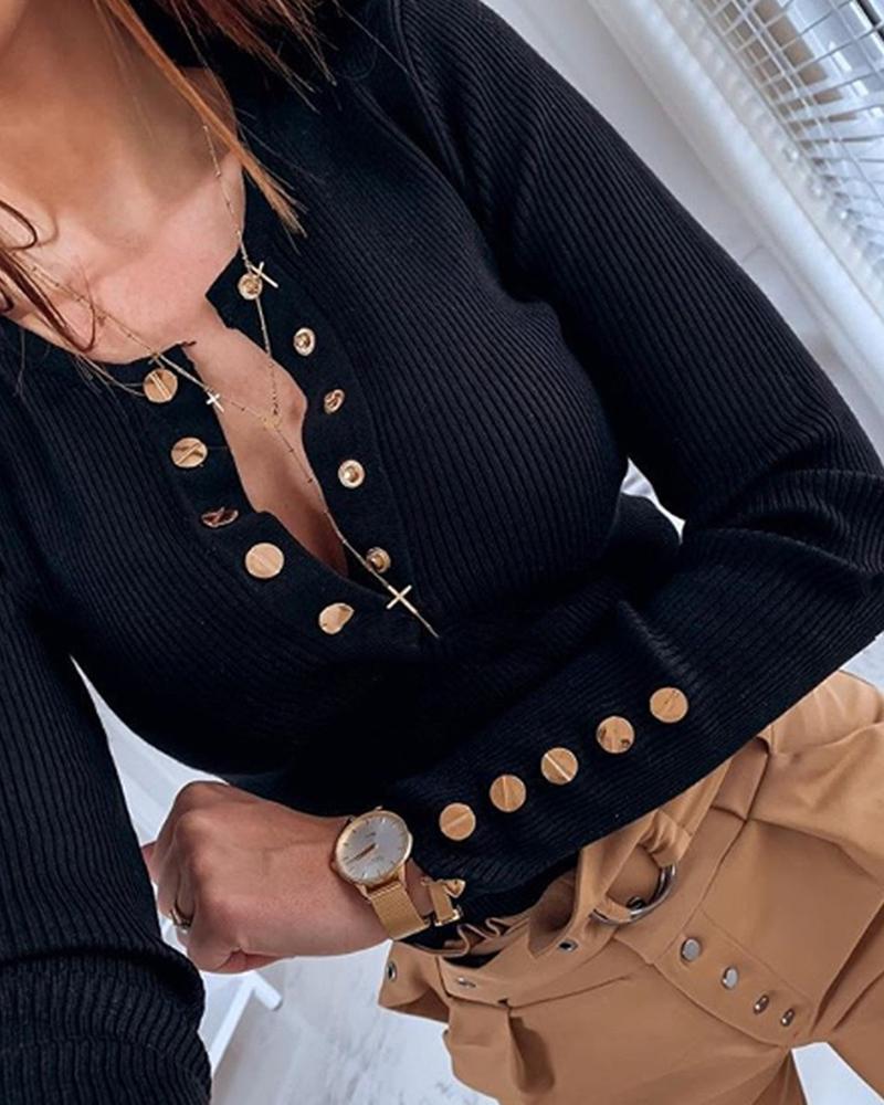 chicme / Blusa casual de manga larga con diseño de botones
