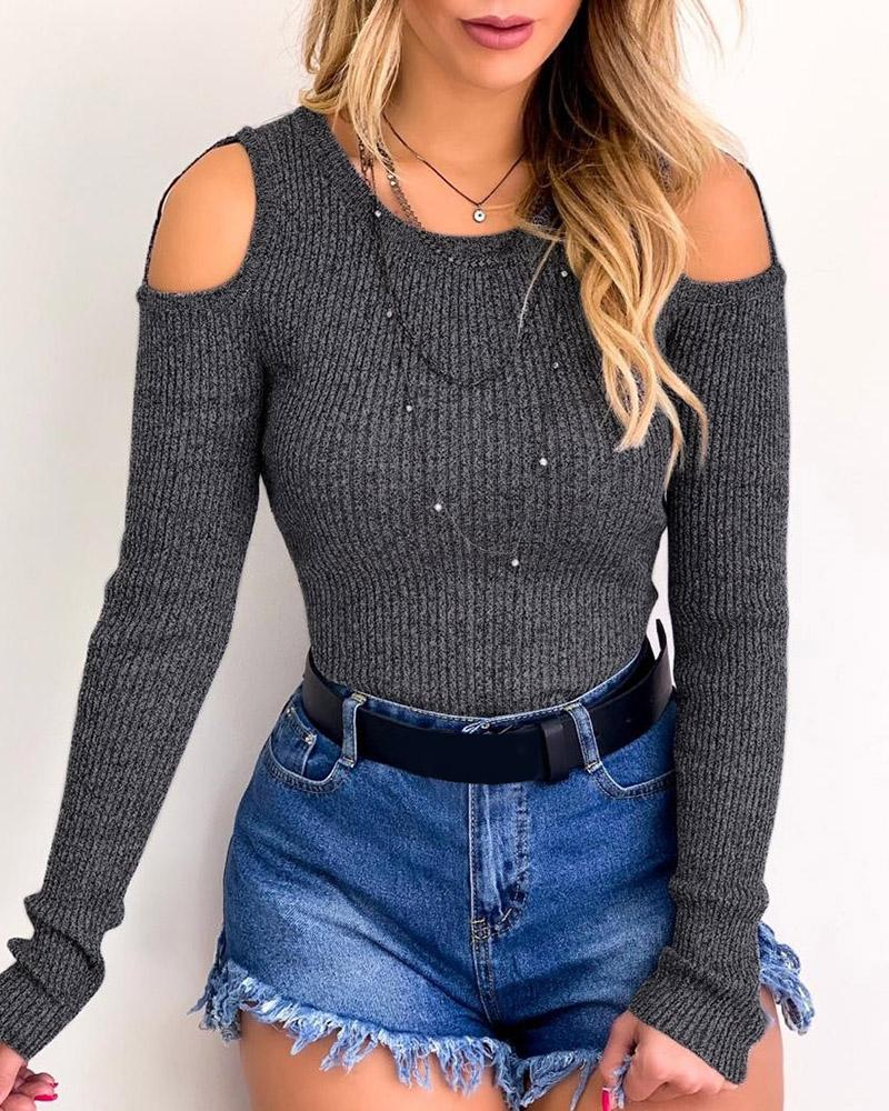 Ribbed Cold Shoulder Ring Detail Top фото