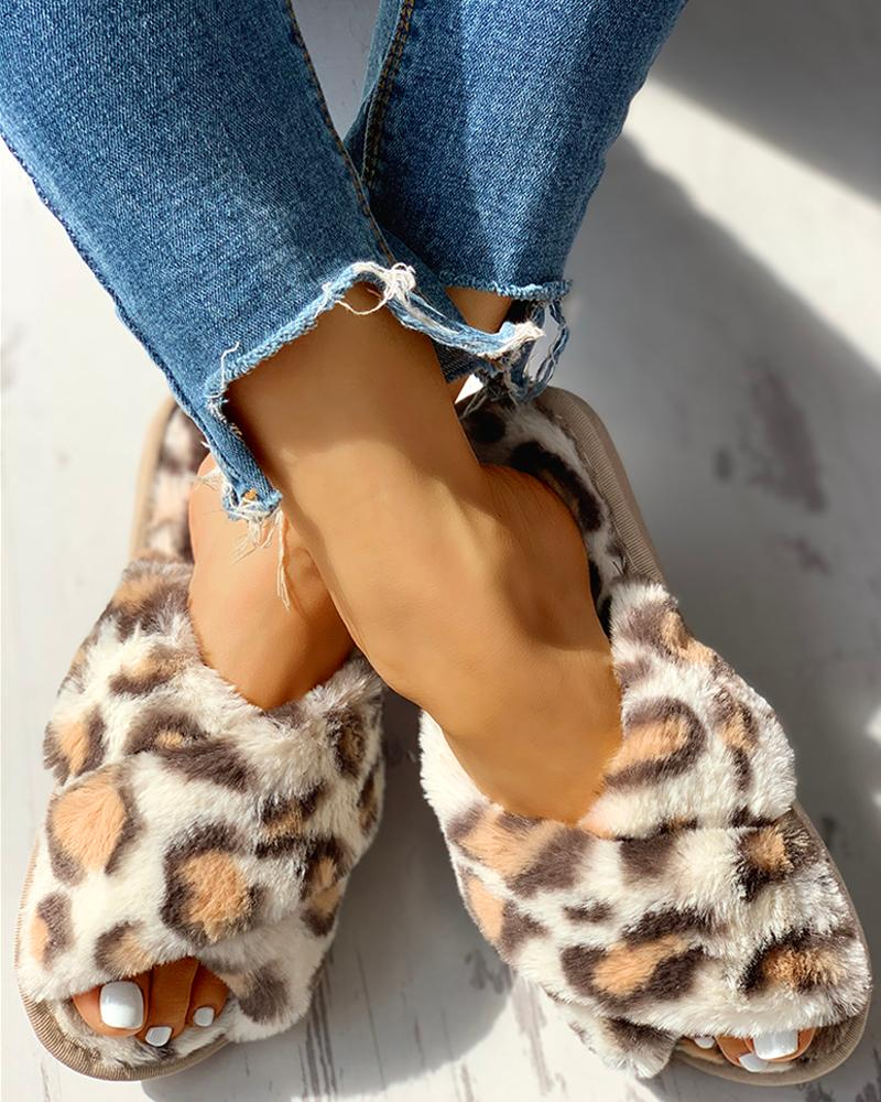 Fluffy Leopard Crisscross Flat Slippers фото