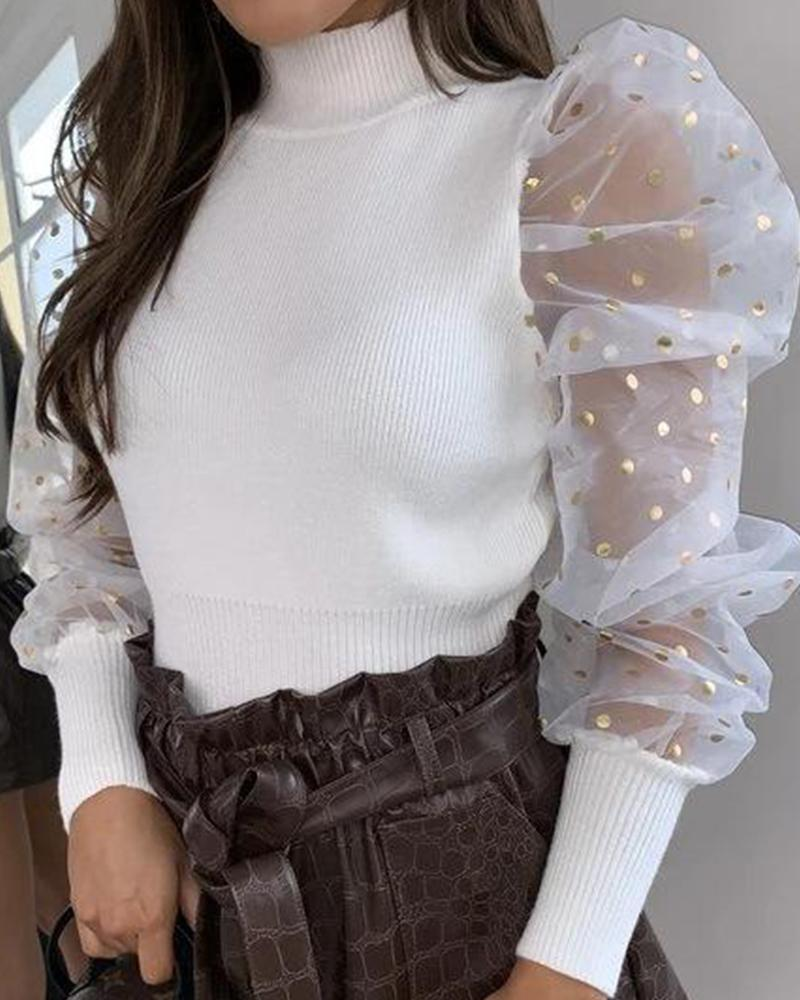 High Neck Mesh Sleeve Top фото