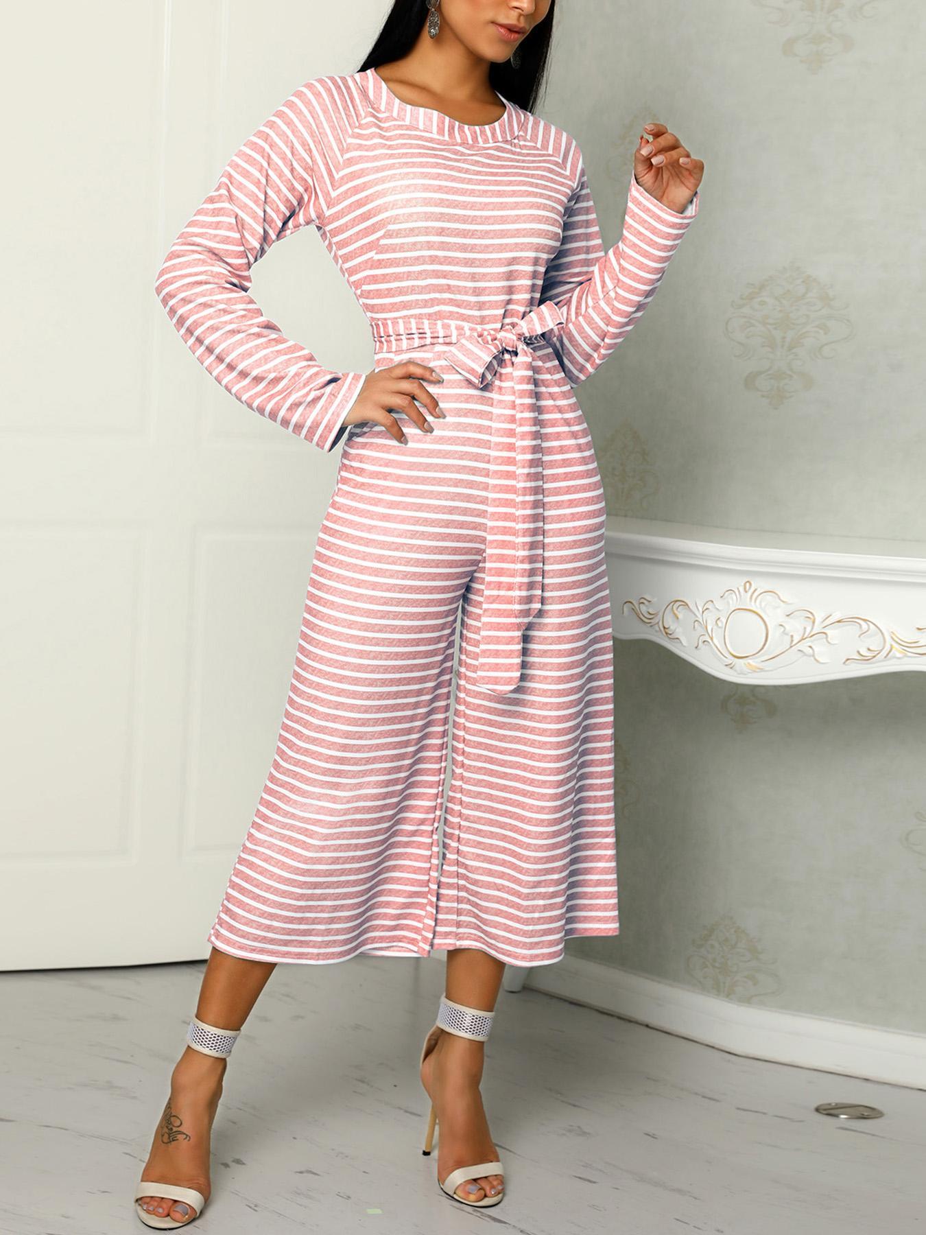 Striped  Long Sleeve Tied Waist Pocket Jumpsuits