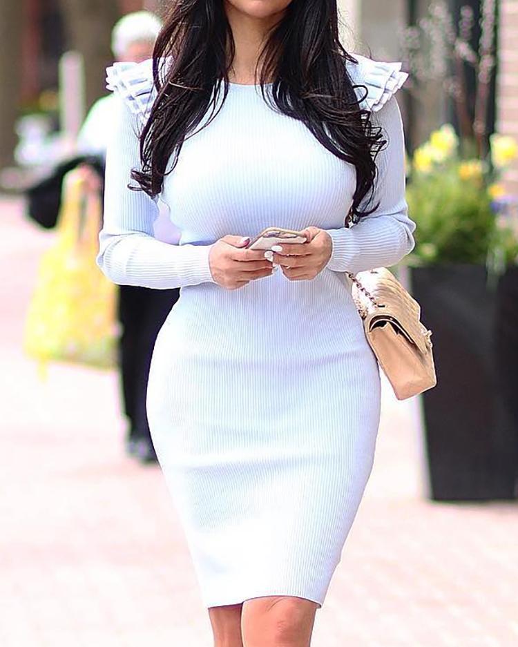 boutiquefeel / Vestido ajustado con volantes en capas sólidas