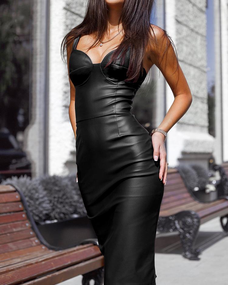PU Slit Back Spaghetti Strap Bodycon Dress от ChicMe WW