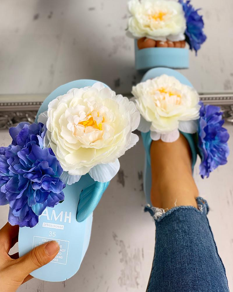 Flower Embellished Platform Muffin Sandals