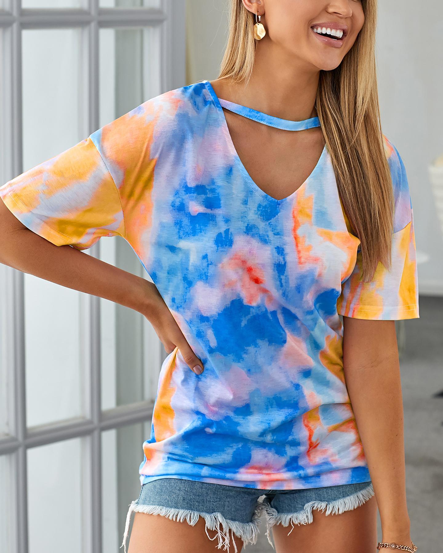 Short Sleeve Tie Dye Print T-shirt фото