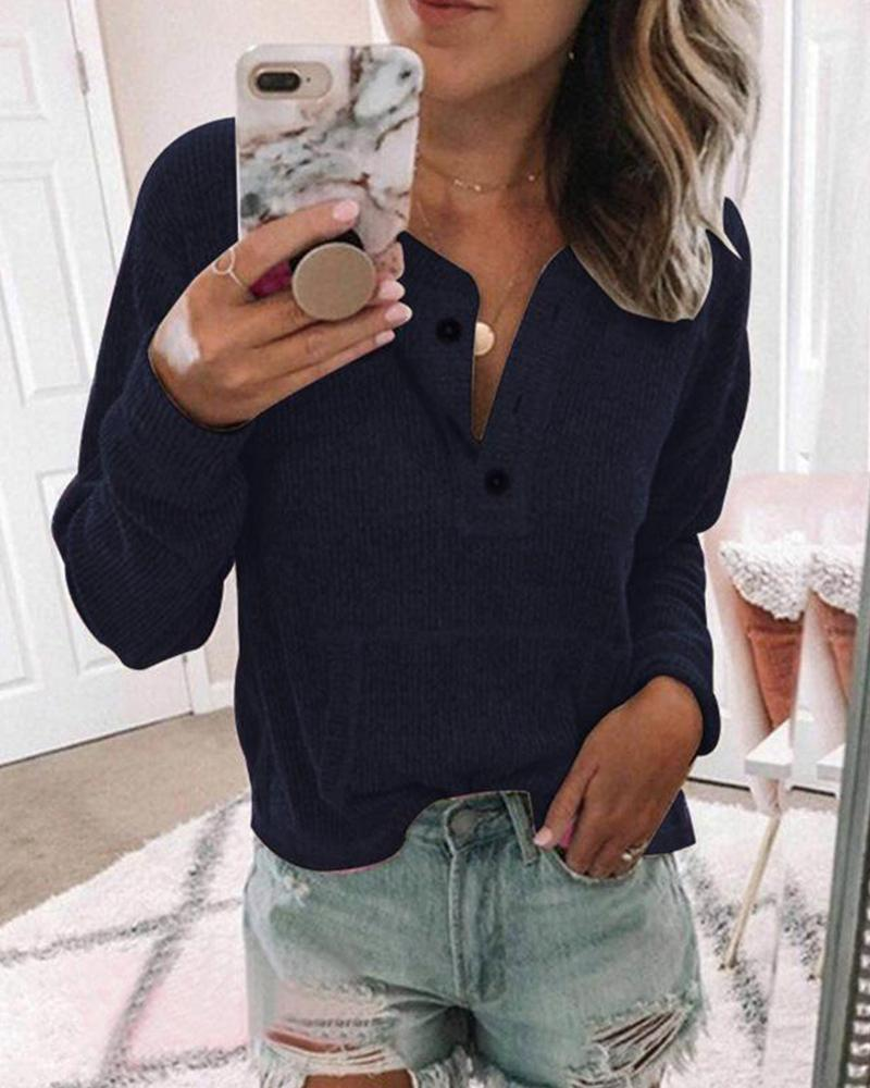 Ribbed Button Neck Casual Top фото