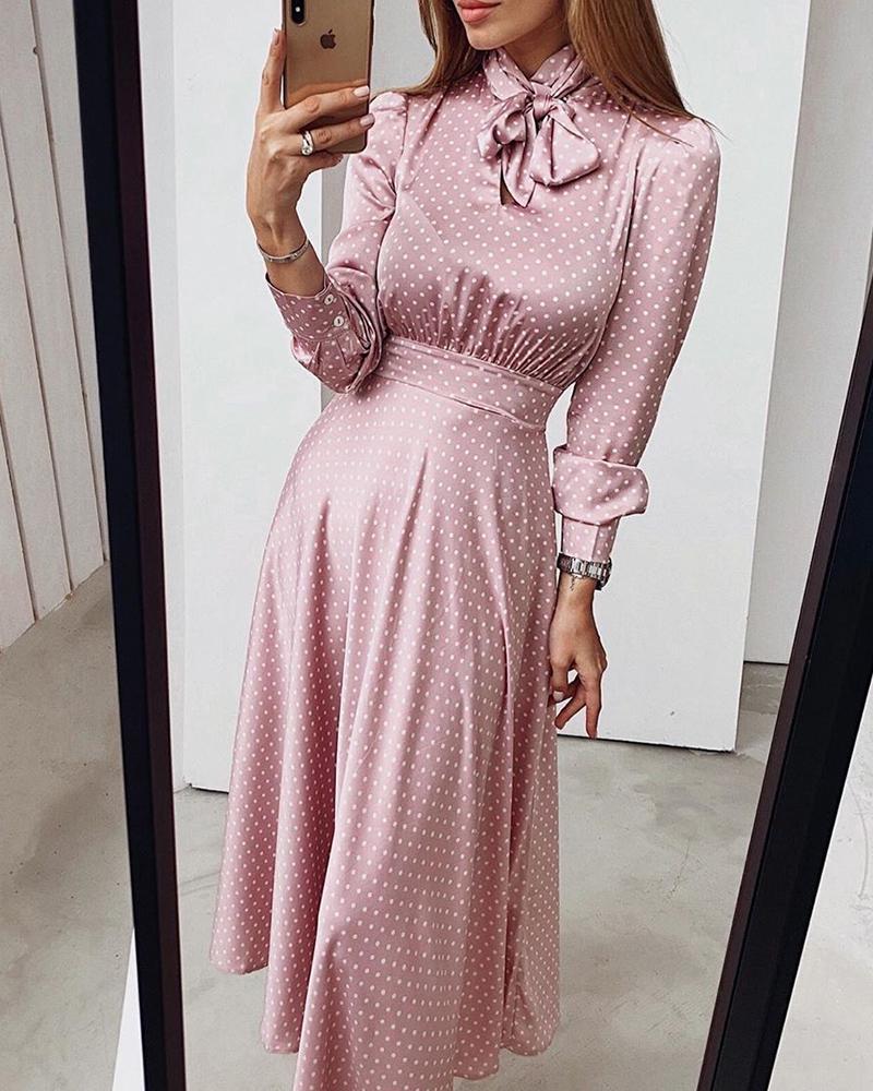 boutiquefeel / Vestido do pescoço do laço das bolinhas