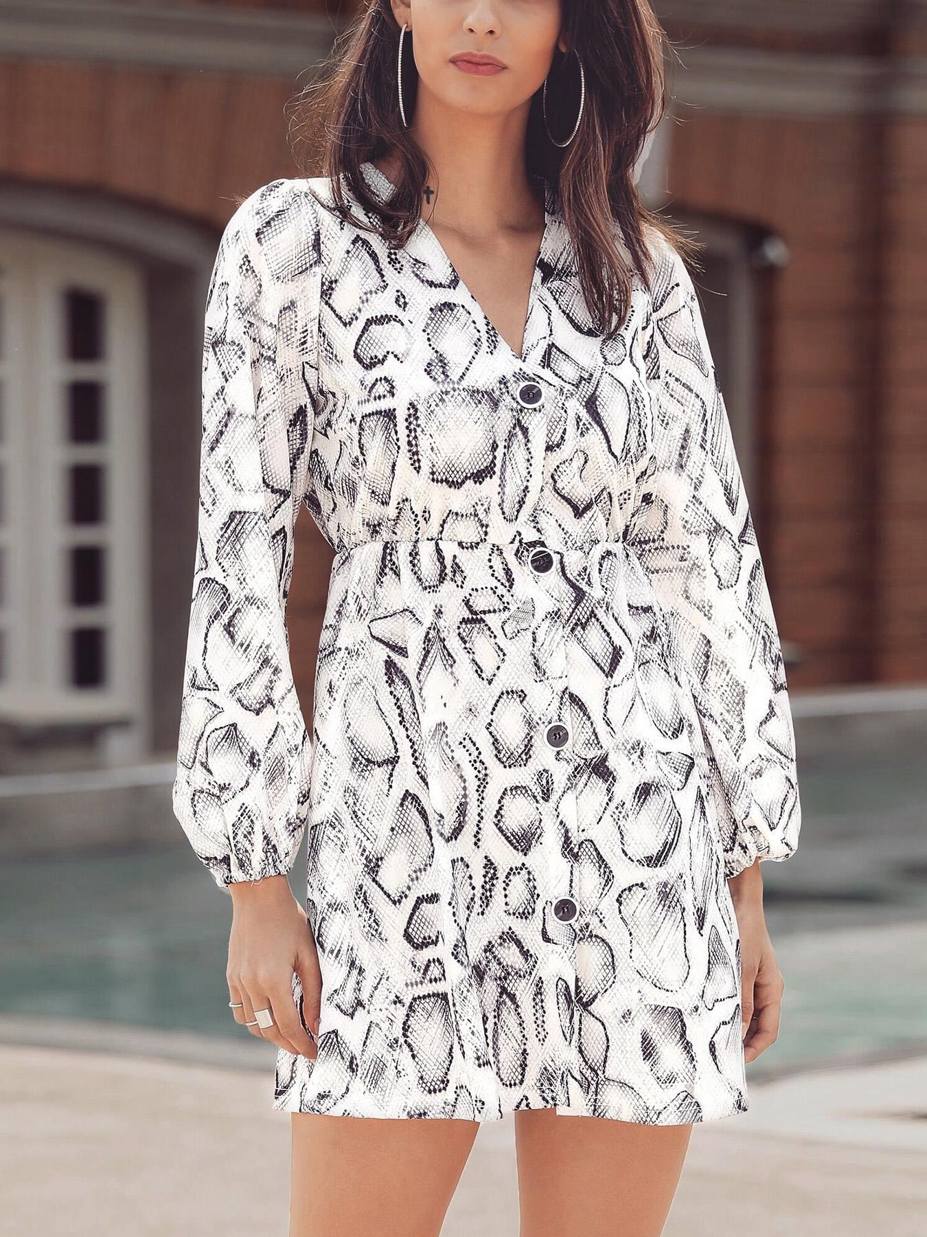 Snakeskin Print Button Design Casual Dress фото