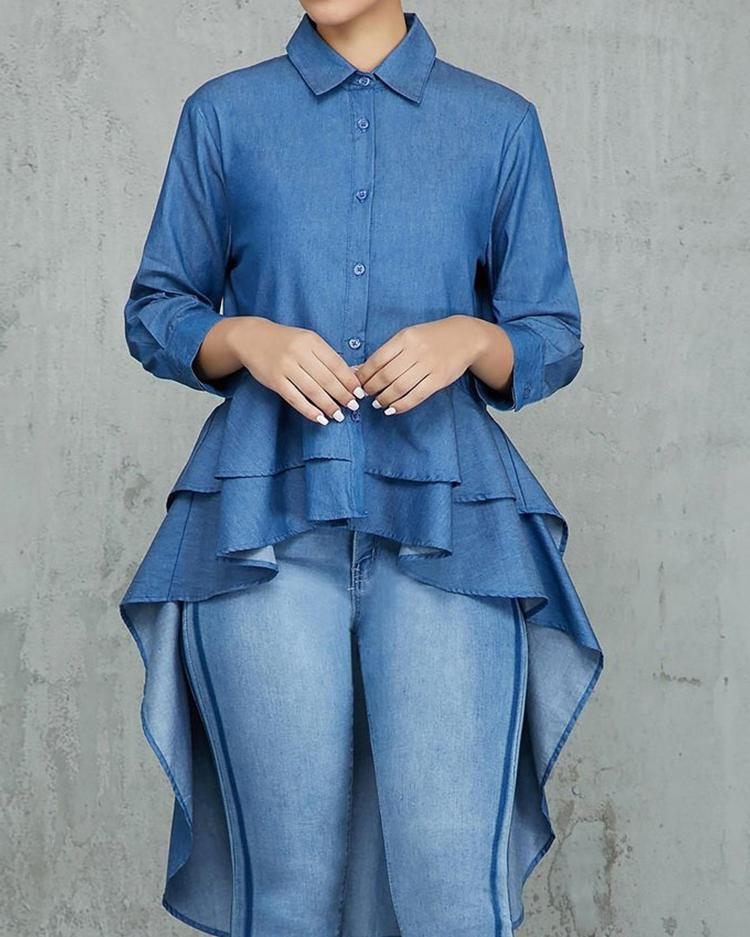 Denim Layered Flounced Dip Hem Blouse фото