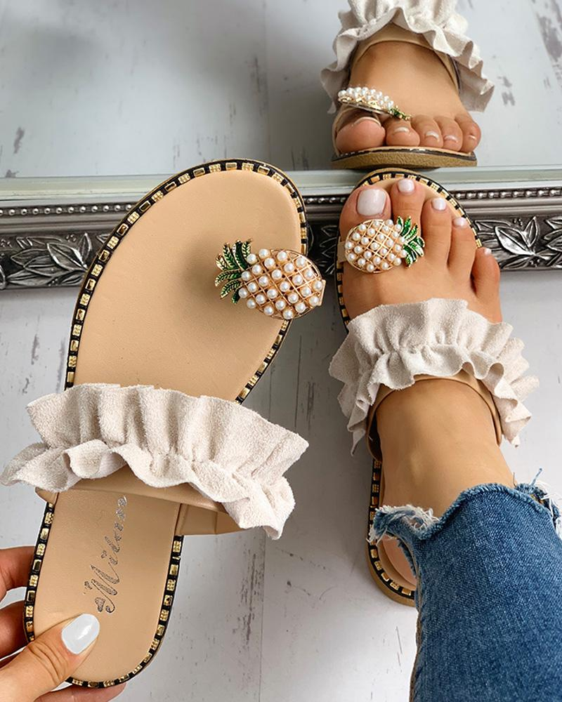 ivrose / Pineapple Pattern Toe Ring Frill Hem Casual Sandals