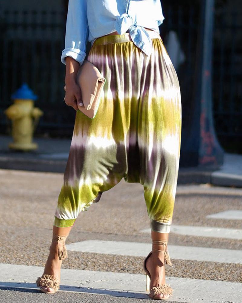 Tie Dye Print Casual Harem Pants фото