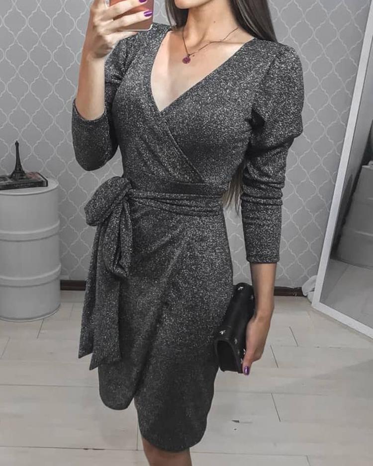 Glittering Tied Waist Wrap Bodycon Dress фото