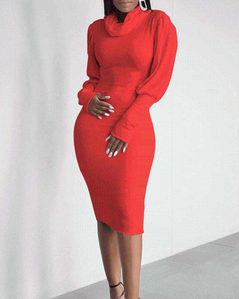 Solid Lantern Sleeve Bodycon Dress, Red