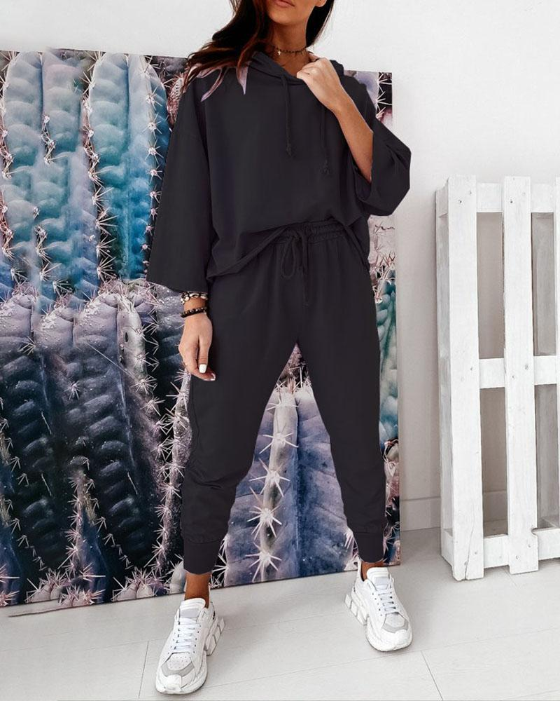 Hooded Casual Top & Drawstring Pants Set фото