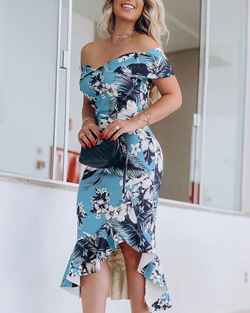 Fold Over Off Shoulder Tight Print Ruffle Hem Dress фото