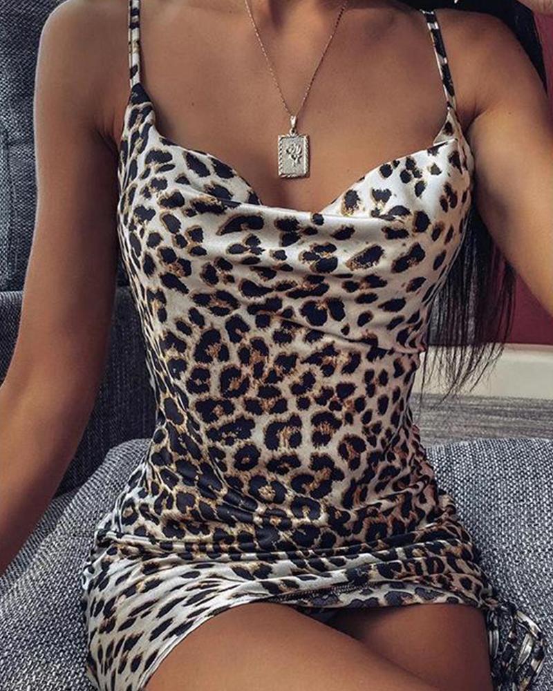 Leopard Print Cami Bodycon Dress, Black