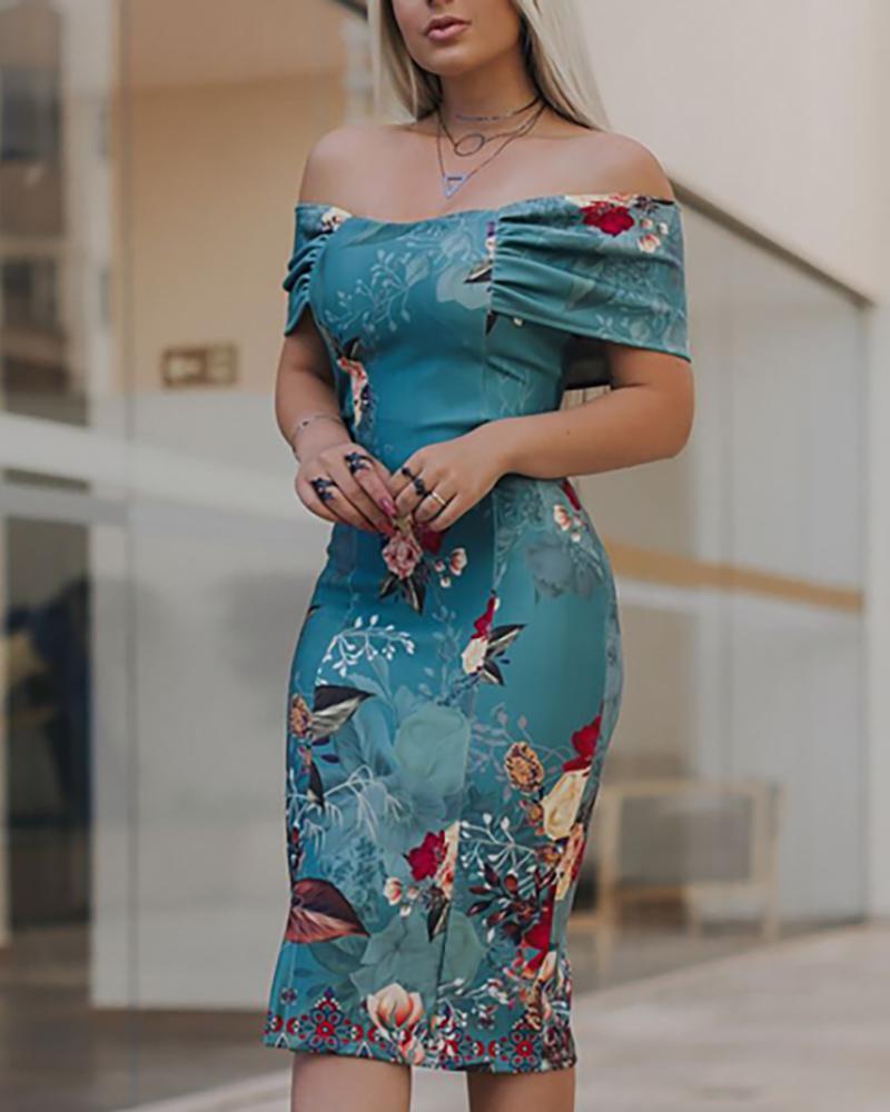 chicme / Print Off Shoulder Bodycon Dress