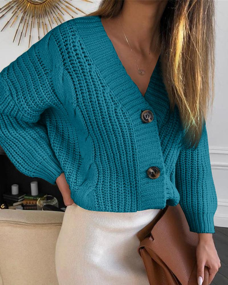 Solid Button Design Lantern Sleeve Knit Sweater фото