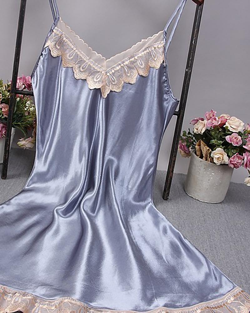 Spaghetti Strap Lace Trim Satin Sleepwear Cami Dress фото
