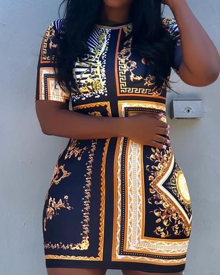 Vintage Ethnic Print Short Sleeve Mini Dress фото