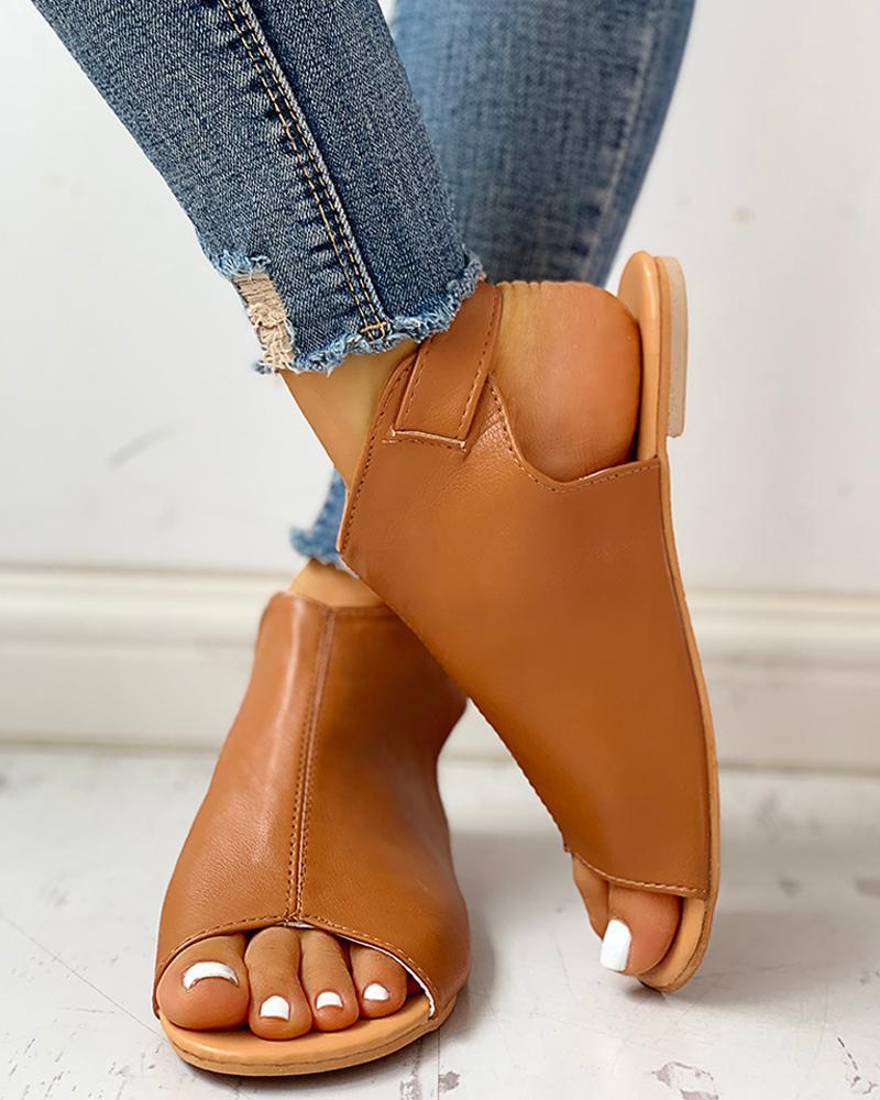 Peep Toe Ankle Buckled PU Flat Sandals