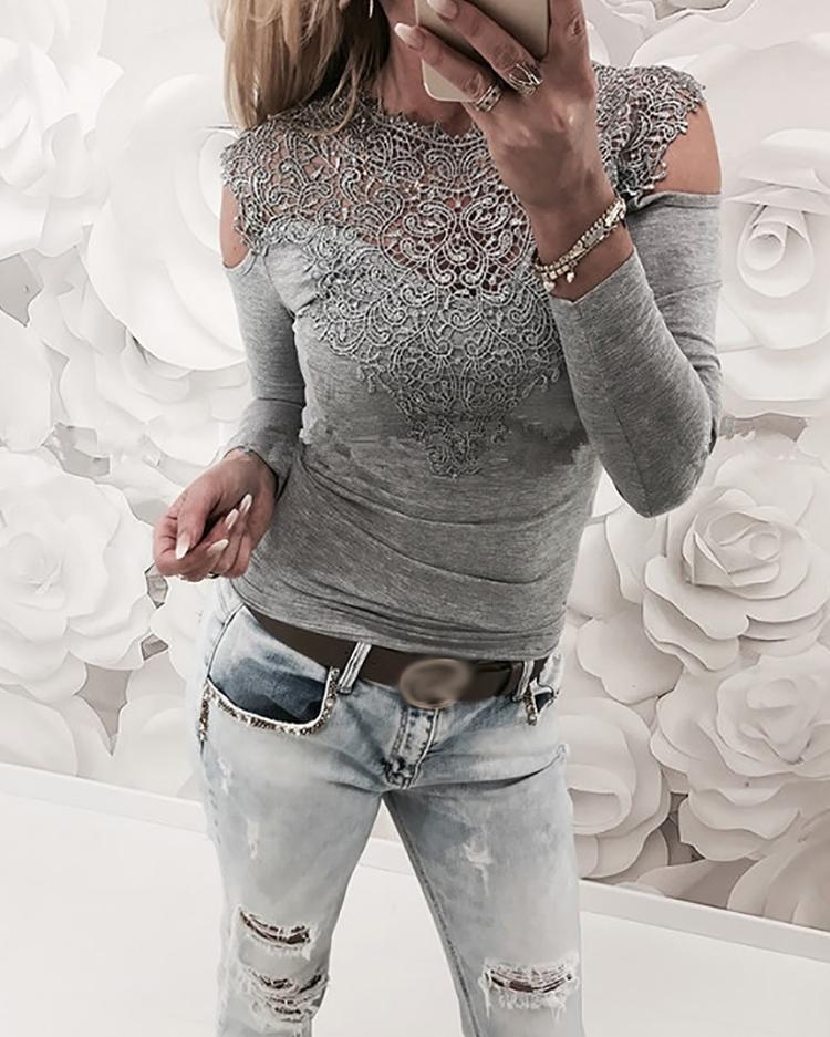 Appliqued Lace Cold Shoulder Blouse, Gray