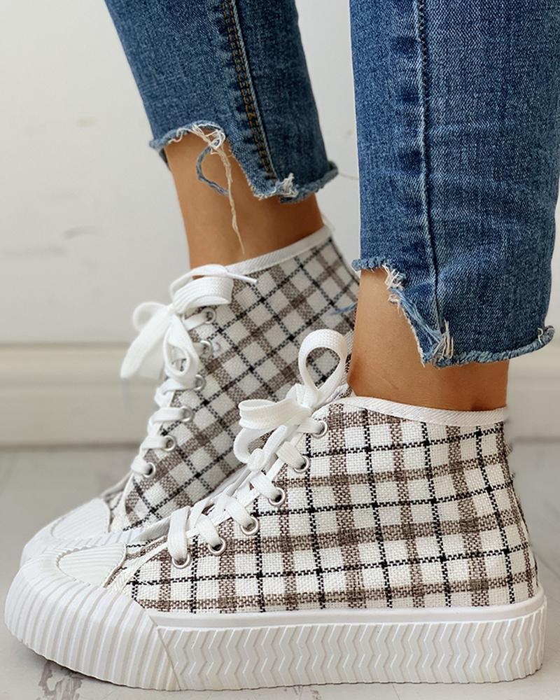 ivrose / Zapatillas casuales con cordones y diseño de cuadrícula