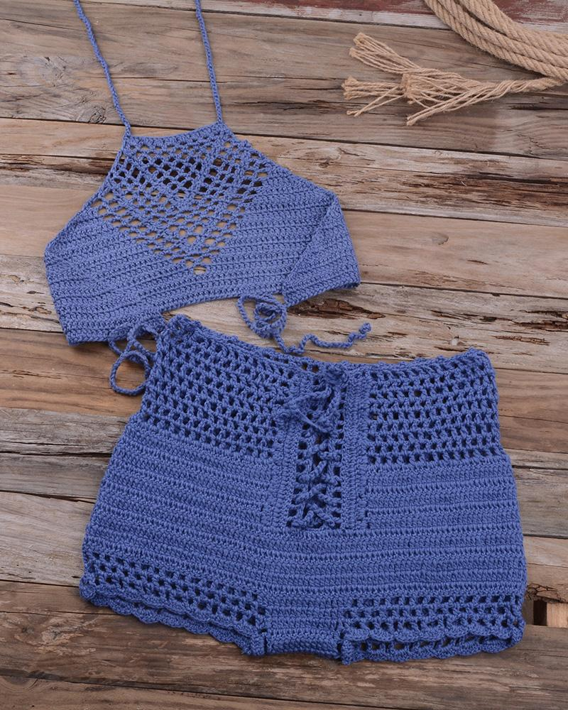 Hollow Out Halter Crochet Tankini Set фото
