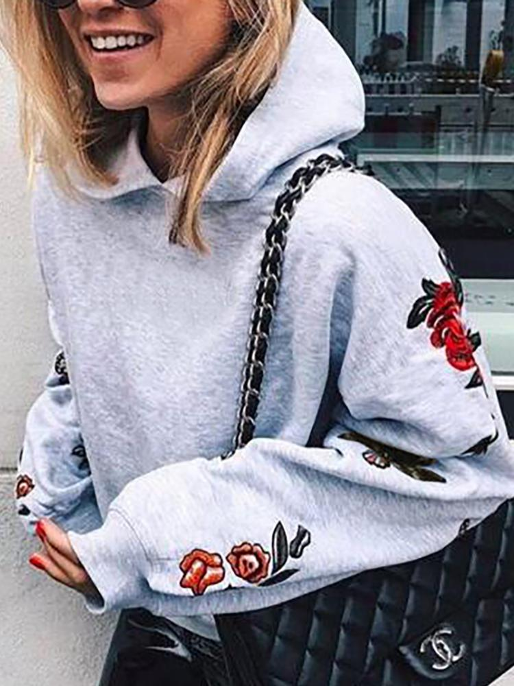 Autumn Embroidered Casual Hoodie Sweatshirt