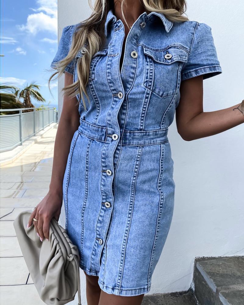 ivrose / Buttoned Pocket Design Casual Denim Dress